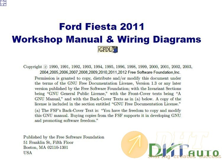 workshop manual - ford fiesta workshop manual & wiring diagram 2011 |  automotive & heavy equipment electronic parts catalogues, service & repair  manuals, workshop manuals  dht auto