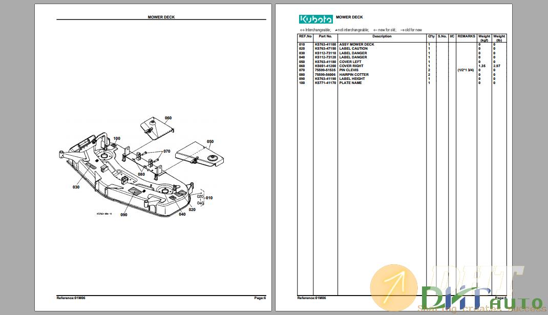 Parts Manuals Kubota Rck60 27b Mower Deck Parts Manual