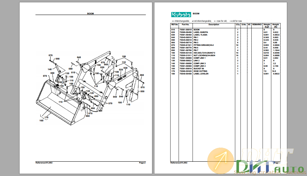 Kubota TL420A Hydraulic Loader Parts Manual-.png