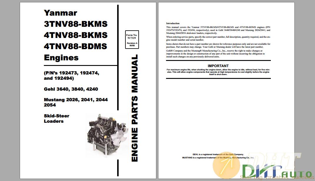 Yanmar SL3640 SL3840 SL4240 Skid Loader 3TNV88 4TNV88 Engine Parts Manual.png