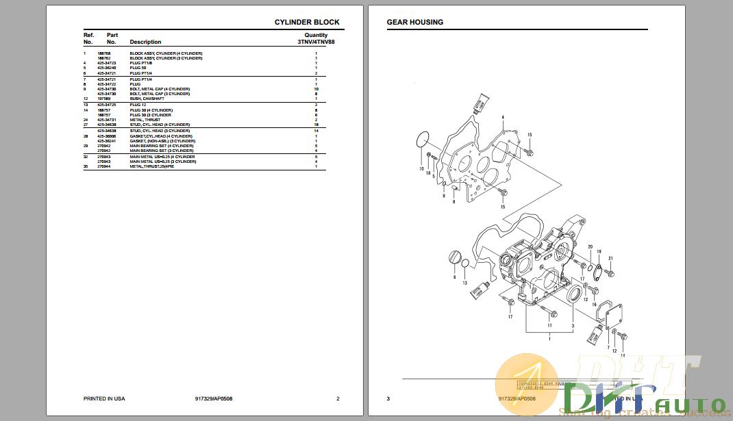 Yanmar SL3640 SL3840 SL4240 Skid Loader 3TNV88 4TNV88 Engine Parts Manual-.png
